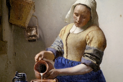 "Ausschnitt des berühmten Ölgemäldes """"Dienstmagd mit Milchkrug"""" des holländischen Barockmalers Jan Vermeer van Delf - ARTE France © Martange Production"