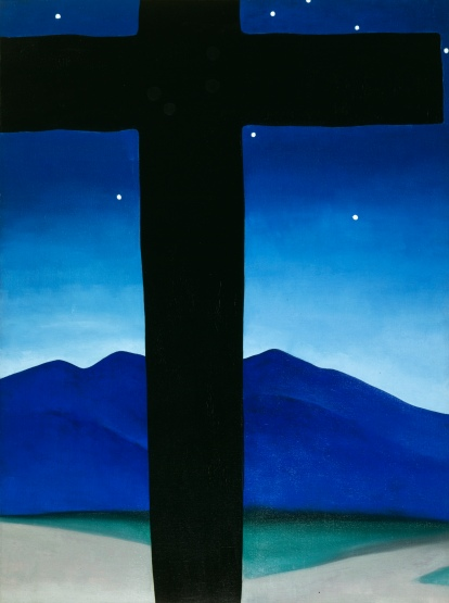 Georgia O'Keeffe, Black Cross with Stars and Blue, 1929. Oil paint on canvas, 1016 x 762 mm. Private collection © 2016 Georgia O'Keeffe Museum/ DACS, London