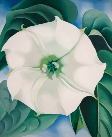 Georgia O'Keeffe, Jimson Weed/White Flower No. 1 1932 Oil paint on canvas 48 x 40 inches Crystal Bridges Museum of American Art, Arkansas, USA Photography by Edward C. Robison III © 2016 Georgia O'Keeffe Museum/DACS, London