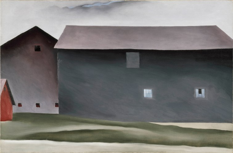 Georgia O'Keeffe, Lake George Barns, 1926. Oil paint on canvas, 538 x 814 mm. Collection Walker Art Center, Minneapolis. Gift of the T.B. Walker Foundation, 1954 © 2016 Georgia O'Keeffe Museum/DACS, London