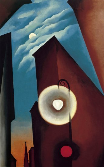 Georgia O'Keeffe, New York Street with Moon, 1925. Oil paint on canvas, 1220 x 770 mm. Carmen Thyssen-Bornemisza Collection on loan at the Museo Thyssen-Bornemisza, Madrid © 2016 Georgia O'Keeffe Museum/ DACS, London