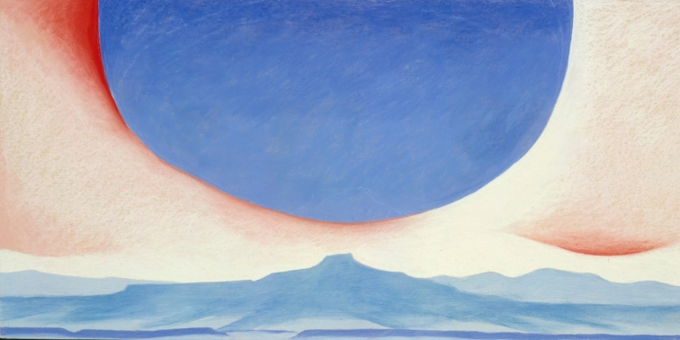 Georgia O'Keeffe, Pedernal, 1945. Pastel on paper, 546 x 1099 mm, Georgia O'Keeffe Museum, Gift of The Burnett Foundation © 2016 Georgia O'Keeffe Museum/DACS, London