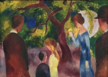 August Macke, Grosse Promenade, Leute im Garten, 1914, Franz Marc Museum, Kochel am See, Leihgabe aus Privatbesitz © starkandart.com