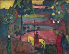 Wassily Kandinsky, Lanzenreiter in Landschaft, 1908, Merzbacher Kunststiftung © starkandart.com