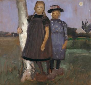 Paula Modesohn-Becker, Zwei Mädchen an einem Birkenstamm stehend, um 1902, Museen Böttcherstraße, Paula Modersohn-Becker Museum, Bremen, Dauerleihgabe aus Privatbesitz