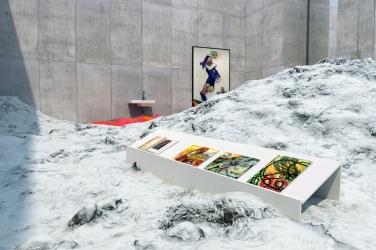 Ein Teil der virtuellen Ausstellung von Katharina Grosse mit Arbeiten von Georgiana Houghton, Maria Lassnig und Pamela Rosenkranz Copyright: RB/SR/WDR / © Willem Rabe/phlox-films