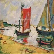 Max Pechstein - Am kurischen Haff, Küstenszene mit Fischerbooten, 1909, Öl auf Leinwand, Leicester Arts and Museums Service ©starkandart.com