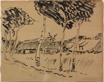 Max Pechstein - Birken mit Bauernhaus, Tusche, Privatbesitz ©starkandart.com