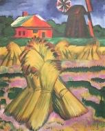 Max Pechstein - Kornhocken vor rotem Haus und Windmühlen, 1921, Museum der Brotkultur, Ulm ©starkandart.com