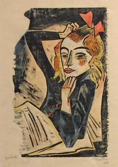Max Pechstein - Krankes Mädchen, 1918, Holzschnitt, handcoloriert, Brücke-Museum Berlin ©starkandart.com
