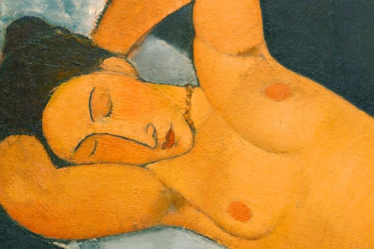 """Amedeo Modigliani – Details von """"Liegender weiblicher Akt"""", 1917, Guggenheim Museum, New York © Medea Film"""