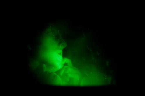 Bruce Nauman, First Hologram Series: Making Faces B, 1968. Holographisches Bild auf Glas. Emanuel Hoffmann-Stiftung, Depositum in der Öffentlichen Kunstsammlung Basel, Foto: Bisig & Bayer, Basel © Bruce Nauman / 2018, ProLitteris, Zurich