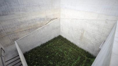 Architekt Tadao Ando entwarf Korridore und Plätze, streng und klar gestaltet. Nur von oben sind die geometrischen Formen sichtbar, die die Architektur des Chichu Art Museums definieren © Sabine Pollmeier