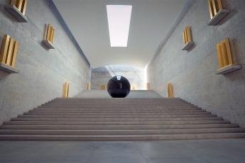"""Unter der Erde verbergen sich die Räume des Chichu Art Museums. Sie bieten Platz für eine große Installation des amerikanischen Land-Art-Künstlers Walter De Maria: """"Time/Timeless/No Time"""" © Sabine Pollmeier"""