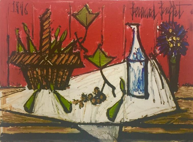 Bernard Buffet, Stilllife with basket, 1996