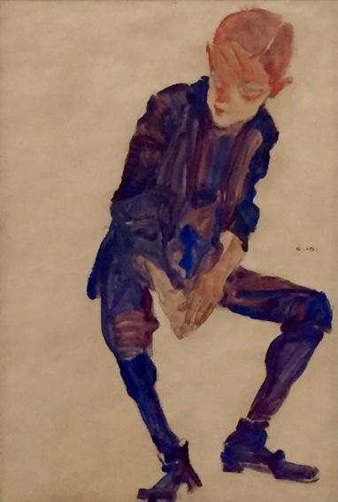Egon Schiele, Sitzender Knabe in lilafarbenem Gewand, 1910 - Leopold Museum, Wien ©starkandart.com