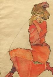 Egon Schiele, Knieende in orange-rotem Kleid, 1910 - Leopold Museum, Wien © starkandart.com
