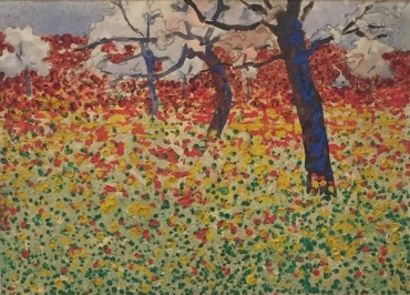 Egon Schiele, Blumenwiese mit Bäumen, 1910 - Privatbesitz, Wien ©starkandart.com